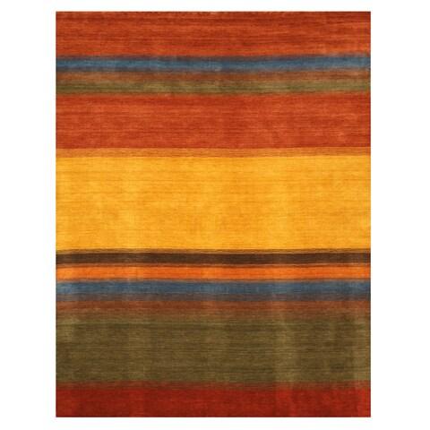 EORC Handmade Wool Contemporary Stripe Gabbeh Rug - 10' x 14'