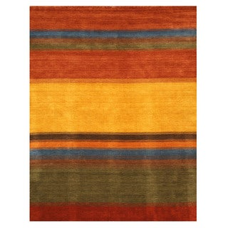 EORC Handmade Wool Contemporary Stripe Gabbeh Rug (10' x 14')