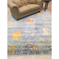 Blue Wool and Viscose Contemporary Abstract Art Hand-Knotted Rug - 8' x 10'