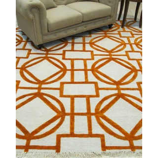 EORC Hand-knotted Ivory Wool and Viscose Transitional Geometric Links Rug (8' x 10')