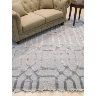 EORC Grey Wool/Viscose Hand-knotted Transitional Geometric Links Rug (8' x 10')