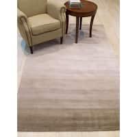 Wool Beige Transitional Stripe Horizon Handmade Rug (8'9 x 11'9)
