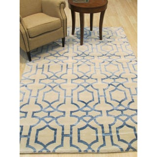 EORC Tibetan Ivory/ Blue Wool/ Viscose Hand-knotted Geometric Area Rug (5' x 8')