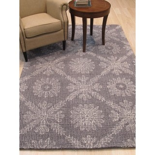 Lexington Gray Wool Transitional Geometric Hand-Tufted Rug (5' x 8')
