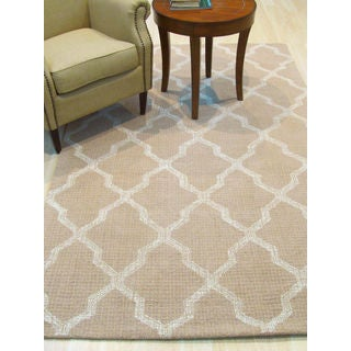 Lexington Beige Wool Transitional Geometric Hand-Tufted Rug (5' x 8')