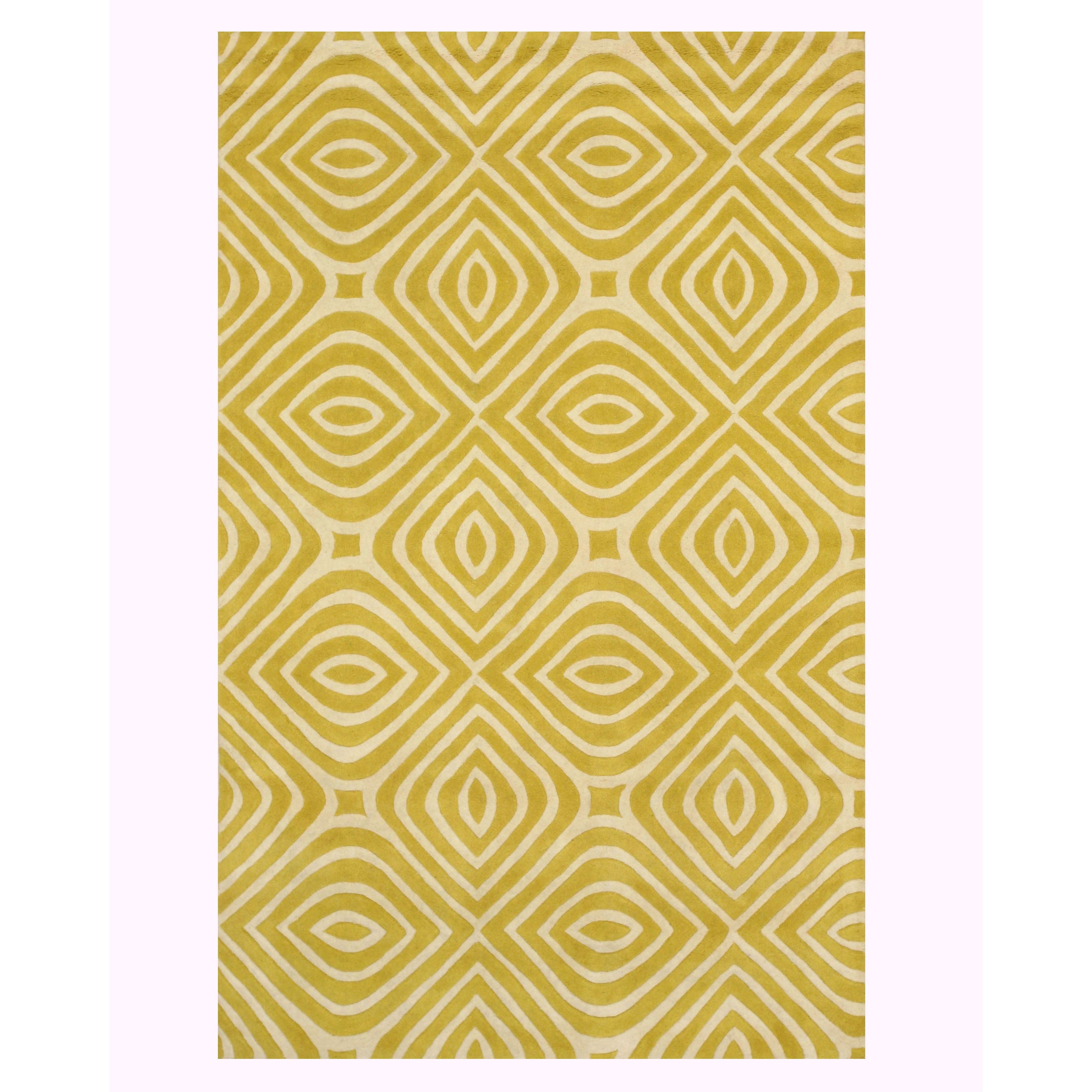 Eorc Marla Yellow Wool Hand Tufted Transitional Geometric Rug 5 X 8 Overstock 15369357 Yellow 8 X 10
