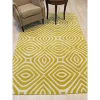 EORC Marla Yellow Wool Hand-tufted Transitional Geometric Rug - 5' x 8'