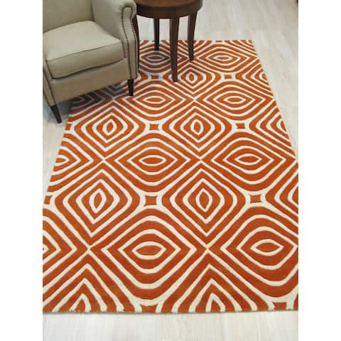 EORC Marla Orange and Ivory Wool and Cotton Hand-tufted Geometric Rug - 5' x 8'