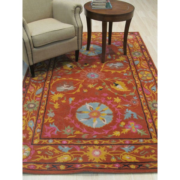 EORC Hand-tufted Rust Wool Traditional Floral Suzani Rug - 5' x 8'