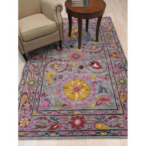 EORC Suzani Multicolored Floral Wool Hand-tufted Area Rug - 5' x 8'