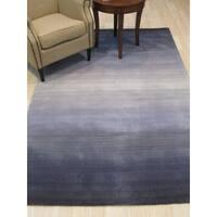 EORC Handmade Blue Wool Transitional Stripe Horizon Rug - 5' x 8'