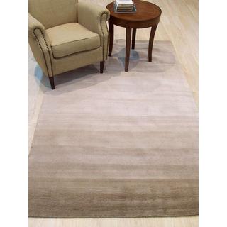 EORC Horizon Beige Wool Transitional Stripe Handmade Rug (5' x 8')