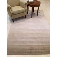 EORC Horizon Beige Wool Transitional Stripe Handmade Rug - 5' x 8'