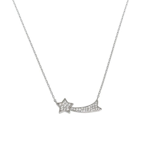 Eternally Haute Solid Sterling Silver Pave Shooting Star Necklace