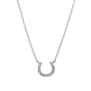 Eternally Haute Solid Sterling Silver Pave Lucky Horseshoe Necklace