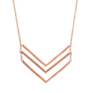Eternally Haute 14K Rose Gold plated Triple Chevron Layering Necklace - Pink