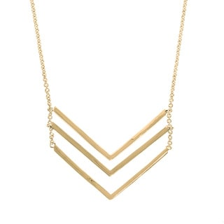 Eternally Haute 14K Gold plated Triple Chevron Layering Necklace