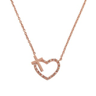 Eternally Haute 14K Rose Gold Pave Heart Cross Necklace - Pink