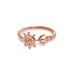 Eternally Haute 14K Rose Gold plated Solid Sterling Silver Wheel Anchor Ring