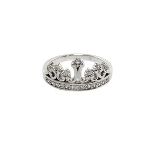 Eternally Haute Solid Sterling Silver Pave 'Queen B' Ring
