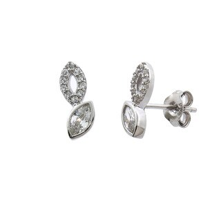 Eternally Haute Solid Sterling Silver Pave Marquise Studs