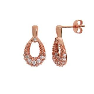 Eternally Haute 14k Rose Gold plated Pave Teardrop Earrings