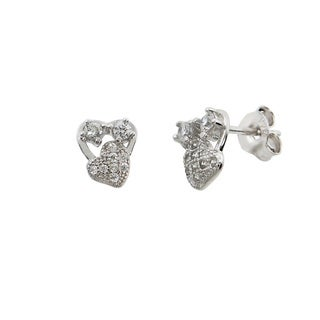 Eternally Haute Solid Sterling Silver Pave Heart In Heart Studs