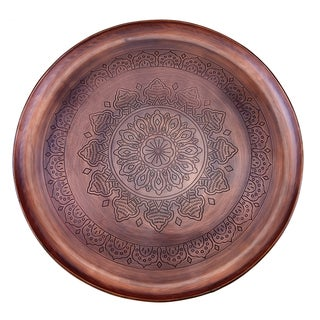 "Casablanca"" Antique Copper Etched Tray, 16 Diameter"