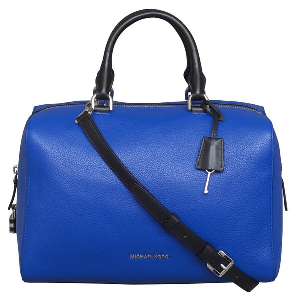 Michael Kors Large Kirby Leather Satchel Handbag In Electric Blue Black