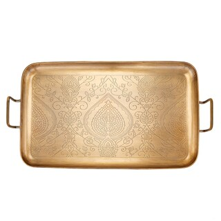 "Tangier"" Champagne Tone Etched Tray, 19"" x 10"" x 1"