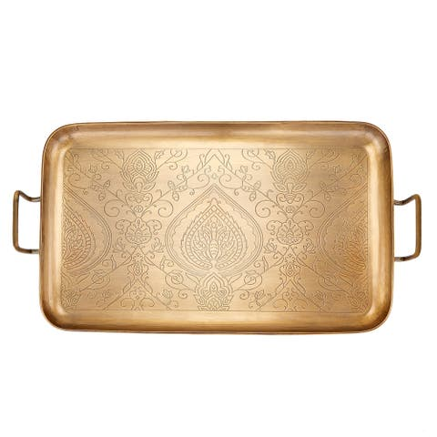 "Tangier"" Champagne Tone Etched Tray, 19"" x 10¼"" x 1"