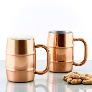 Link to Set of 2 KeepKool® DuraCopper® 16.9 Oz. Double Walled Stainless Steel Mugs Similar Items in Glasses & Barware