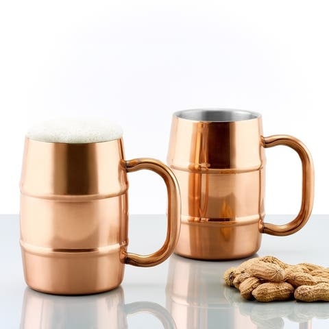 Set of 2 KeepKool® DuraCopper® 16.9 Oz. Double Walled Stainless Steel Mugs