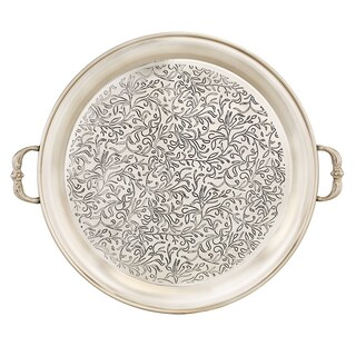 "Marrakesh"" Antique Pewter Etched Tray, 18 Diameter"