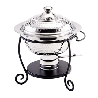 Old Dutch Hammered Stainless Steel 1.75 qt. Chafing Dish with Black Iron Stand