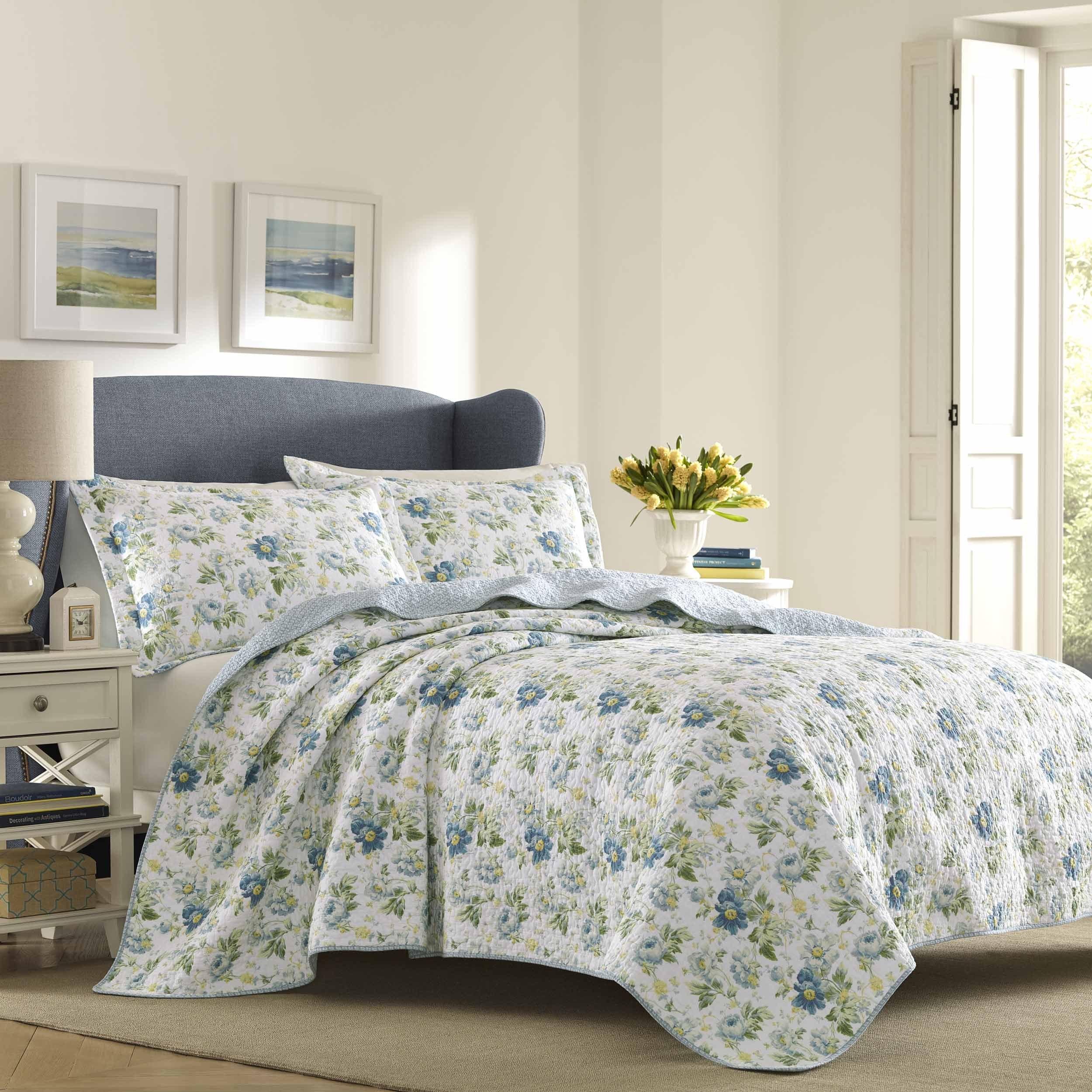 Laura Ashley Peony Garden Quilt Set (Twin), Blue (Cotton,...