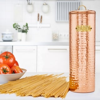 "Hammered Copper Pasta Canister, 12"" H."