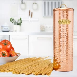 """Hammered Copper Pasta Canister, 12"""" H."""