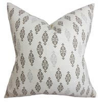 Ziven Geometric 24-inch Down Feather Throw Pillow Gray