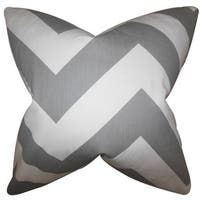 Eir Zigzag 24-inch Down Feather Throw Pillow Light Gray