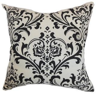 """Olavarria Damask 24"""" x 24"""" Down Feather Throw Pillow Black White"""