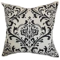 "Olavarria Damask 24"" x 24"" Down Feather Throw Pillow Black White"