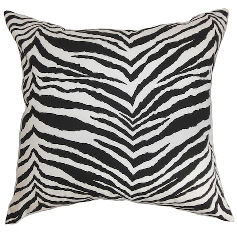 Cecania Zebra Print 24-inch Down Feather Throw Pillow Black White