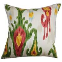 Talisha Ikat 24-inch Down Feather Throw Pillow Green Pink