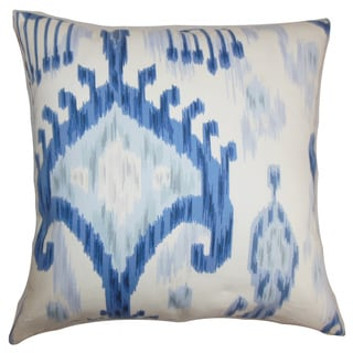 Talisha Ikat 24-inch Down Feather Throw Pillow Blue White