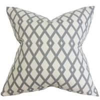Tova Geometric 24-inch Down Feather Throw Pillow Gray