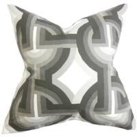 Rineke Geometric 24-inch Down Feather Throw Pillow Gray White