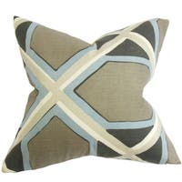 Otthild Geometric 24-inch Down Feather Throw Pillow Gray Blue