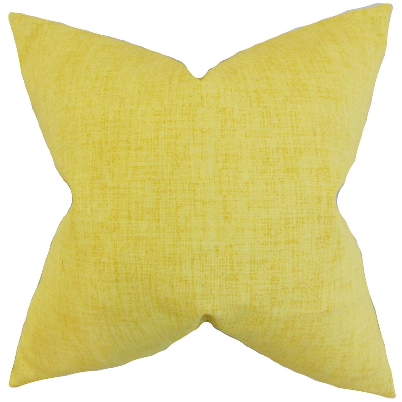 Leda Solid 24-inch Down Feather Throw Pillow Lemon (24 x 24)