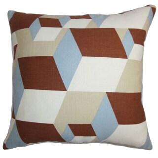 "Fan Geometric 24"" x 24"" Down Feather Throw Pillow Brown Blue"